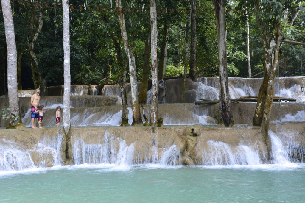 About to cool off in the Tad Se waterfall pools!