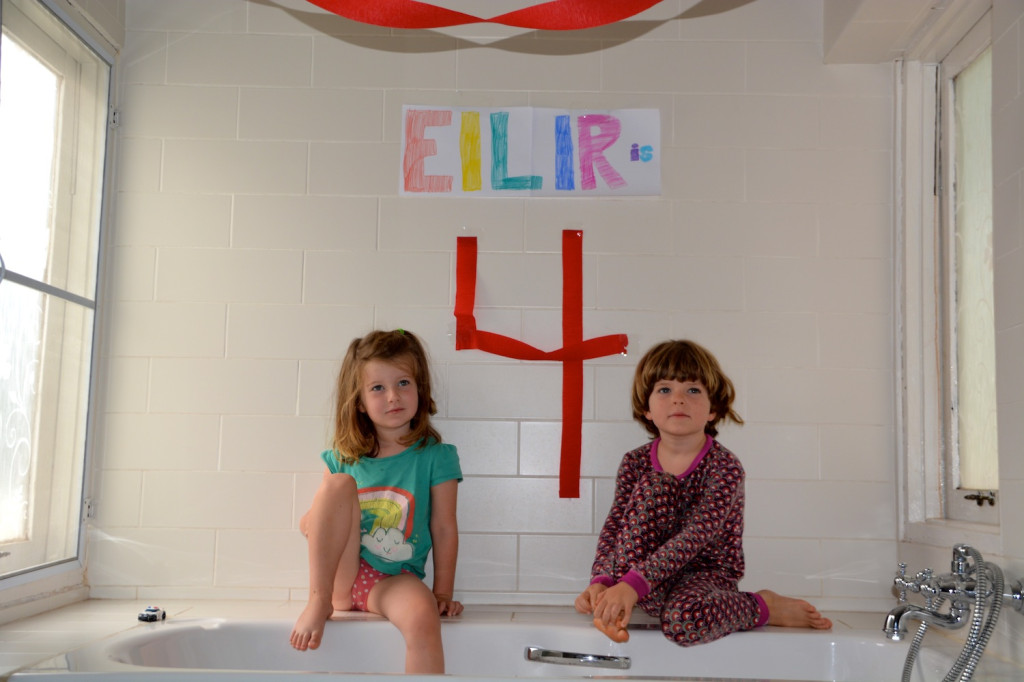 Our decorated bathroom: Eilir is 4!