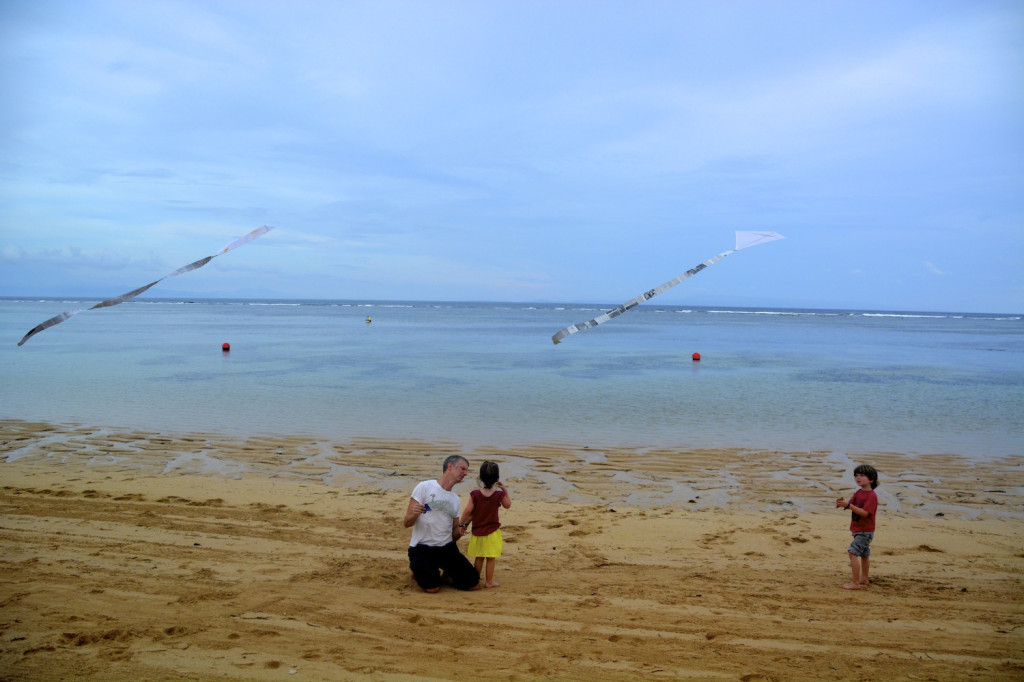 The beach out front of the Westin, Nusa Dua.  The kids made kites in kids club, the reef is right out front.  Paradise in the unexpected.