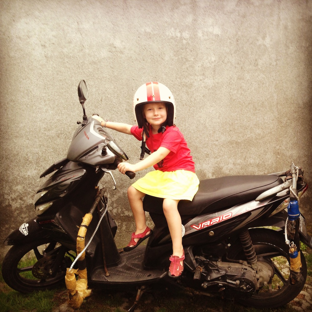 Eilir on her surf equipped motor bike, pleased as punch.