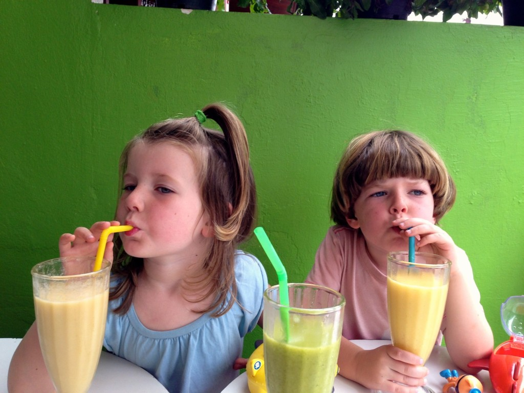 Enjoying tropical fruit smoothies in Vientaine