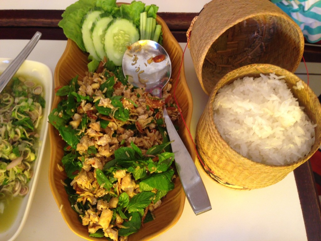 Tofu Larb and sticky rice at Lao Kitchen in Vientiane