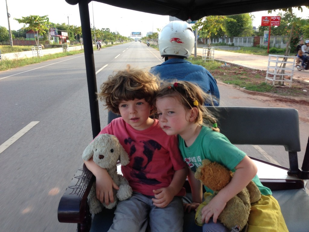 Woof and Woofa, taken for a tuk-tuk ride from the airport to our little hotel