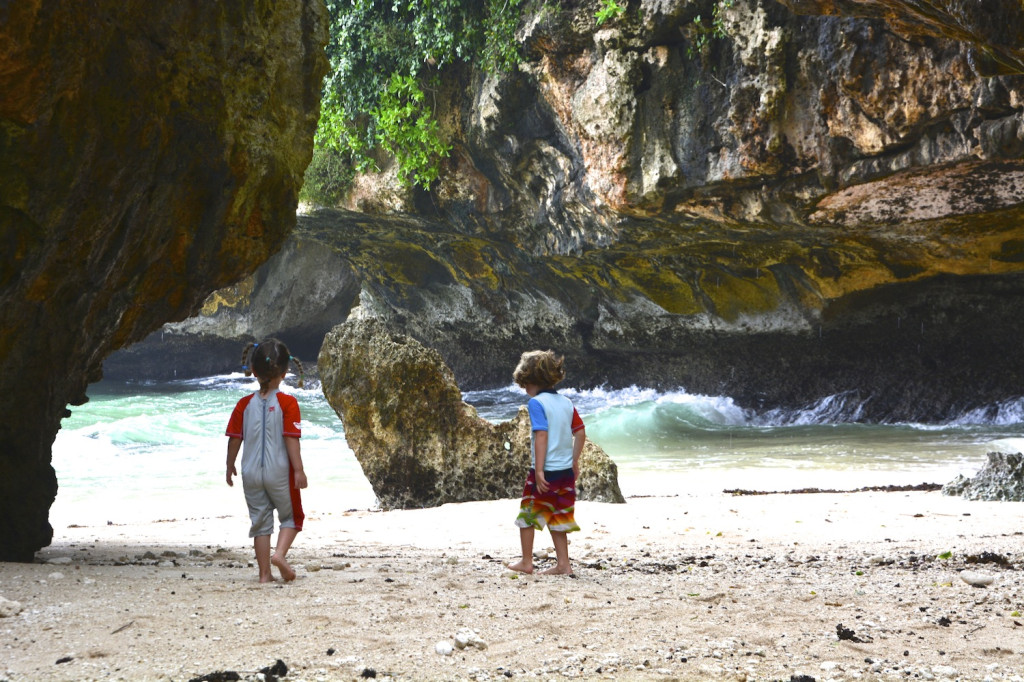 Phineas and Eilir playing in the cave at Uluwatu