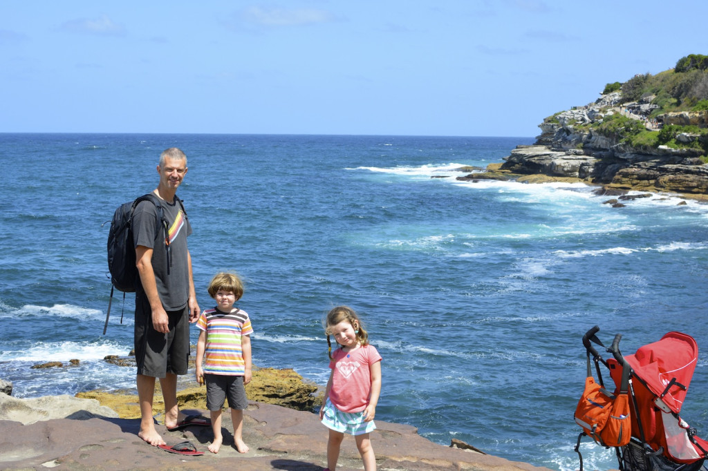 The start of the Bondi to Coogee cliff walk.  The strollers were wonderful to lug up the many stairs.