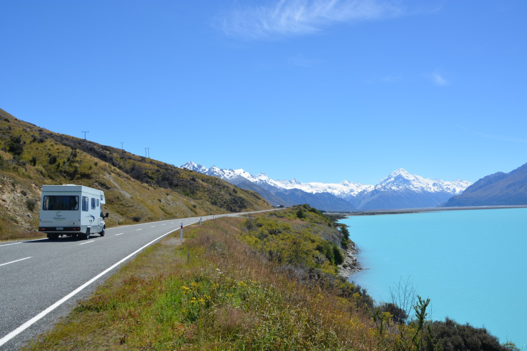 Driving along Lake Pukaki towards Mt. Cook