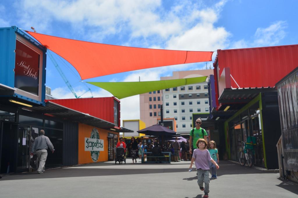 Walking out of Re:START village, Christchurch