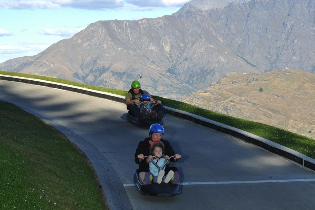 Street luge in Queenstown. The track is wide enough to pass, creating some interesting competitive situations.